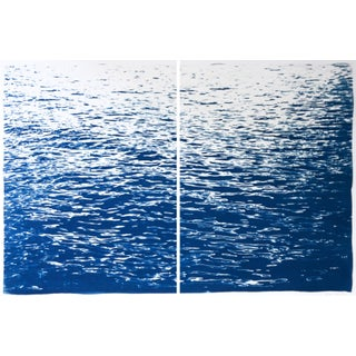Minimal Seascape Diptych by Kind of Cyan Nautical Cyanotype on Watercolor Paper - A Pair For Sale