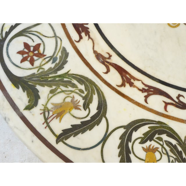 Mediterranean Vintage Italian Inlay White Marble Coffee Table For Sale - Image 3 of 8