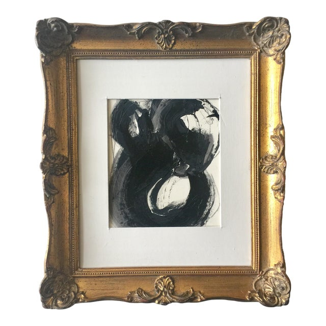 Black White and Gray Abstract in a Vintage Frame For Sale