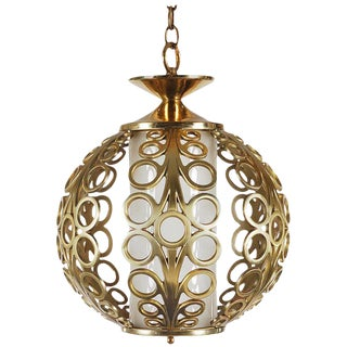 1960s Hollywood Regency Brass Ring Pendant Hanging Lamp