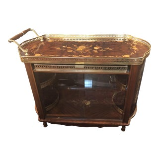 1980s Italian Bar Cart With Inlay For Sale