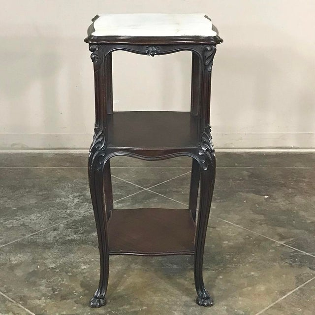French 19th Century French Solid Rosewood Nightstand - Etagere Lamp Table For Sale - Image 3 of 12