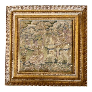 Antique 18th C Crewel Work Tapestry in Gilt-Wood Frame W Horse & Rider For Sale