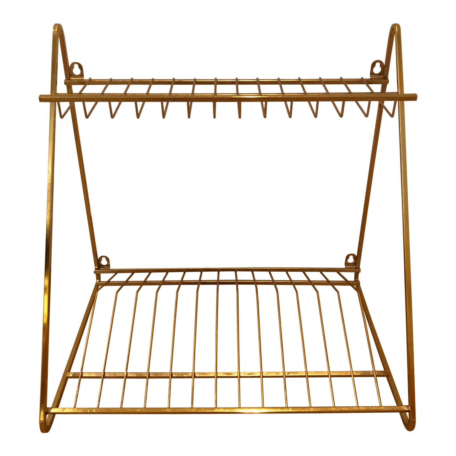 Cb2 Gold Wall Mounted Dish Drying Rack Chairish