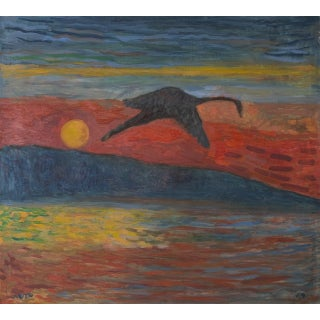 2012 Contemporary Expressionist Style Sunset Seascape Oil Painting by Joe Reno For Sale