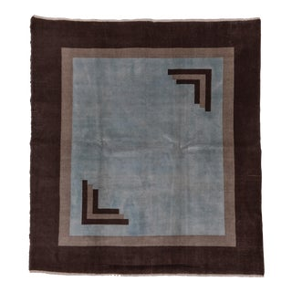 1960s Square Art Deco Rug-7′ × 7′7″ For Sale