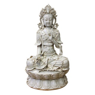 Tong Style Porcelain Kwan Yin Tara Bodhisattva Statue For Sale