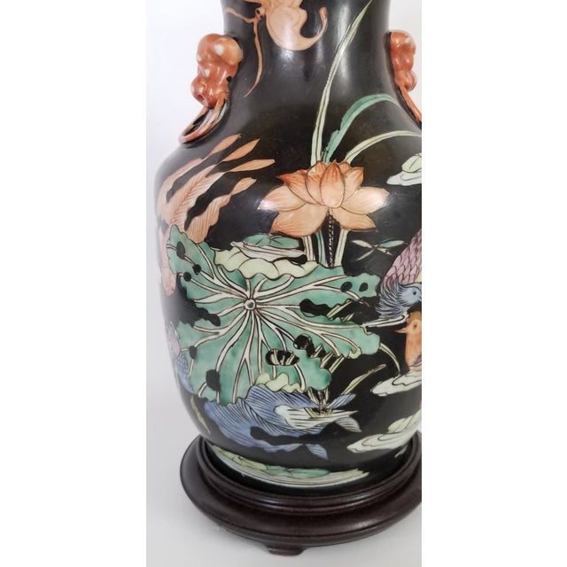Vintage Chinese Porcelain Famille Noire Lamp For Sale - Image 4 of 12