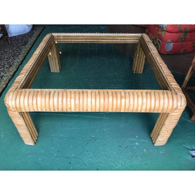 Vitange Large Split Rattan Coffee Table For Sale - Image 11 of 11