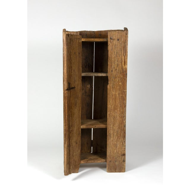 Very Rustic Italian Chestnut Single Door Cabinet With Wrought Iron Hinges, Circa 1720. For Sale In San Francisco - Image 6 of 13