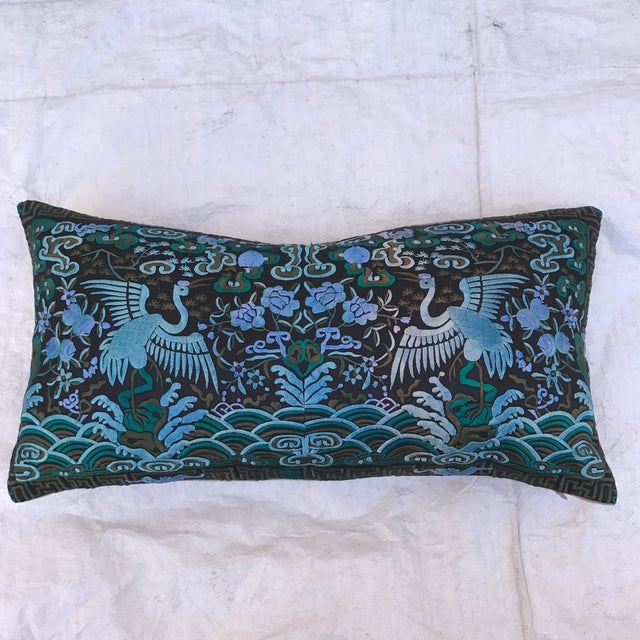 Hollywood Regency Blue & Black Asian Chinoiserie Boudoir Pillow - Image 5 of 6
