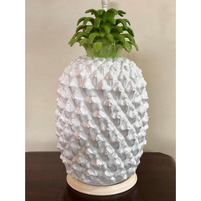 Mid Century Italian Majolica Pineapple Table Lamp For Sale - Image 6 of 11