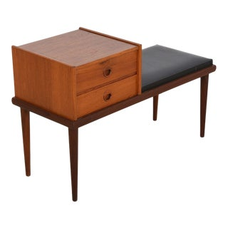 Mid Century Modern Telephone Table / Padded Bench with Two Drawers