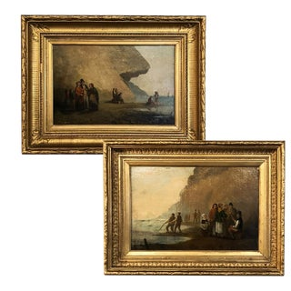 Pair 19th Century Framed Oil Paintings on Board ~ French School For Sale