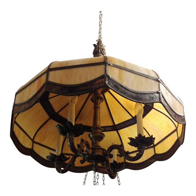 1900s Antique Stained Glass Chandelier For Sale - 1900s Antique Stained Glass Chandelier Chairish