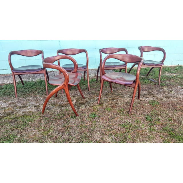 Vintage Solid Curved Cherry Wood Dining Chairs - Set of 6 - Image 3 of 9