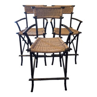 Vintage Mid Century Chinoiserie Metal Bamboo Style Stools- Set of 3 For Sale