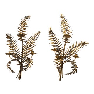 1950s Fern Shaped Gilt Metal and Iron Candle Sconces - a Pair For Sale