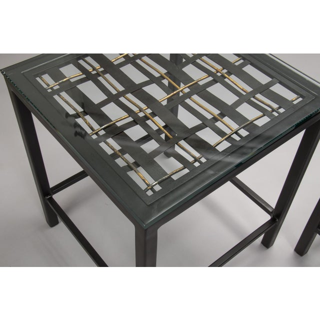 1930s Pair Custom End Tables Made with French Metal Grill For Sale - Image 5 of 7