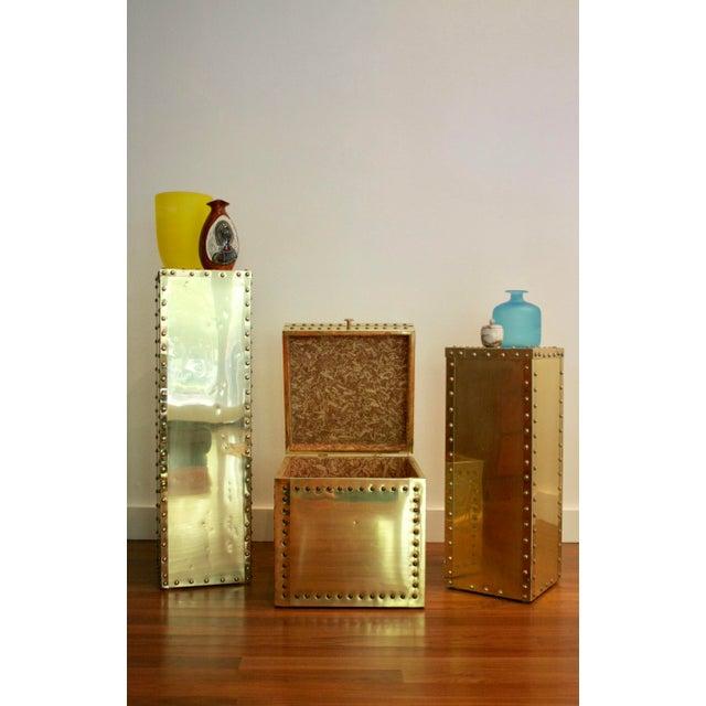 Sarreid-Style Brass Studded Pedestal (Smaller Pedestal Only) - Image 11 of 11