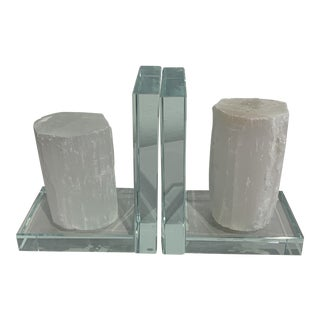 Selenite Quartz Bookends on Lucite - a Pair For Sale