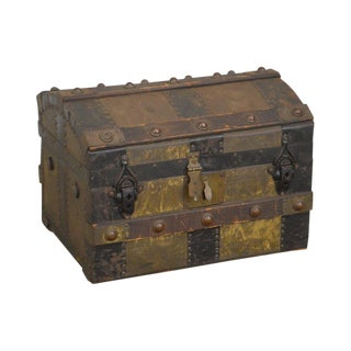Antique Salesman Sample or Doll Travel Dome Top Steamer Trunk For Sale