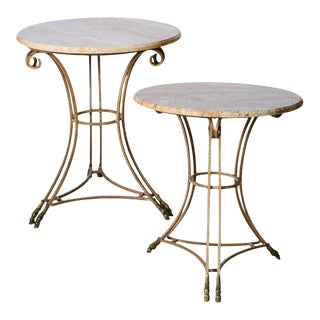 Hollywood Regency Italian Marble Top Iron Tables With Double Bronze Hoof Feet, A-Pair For Sale