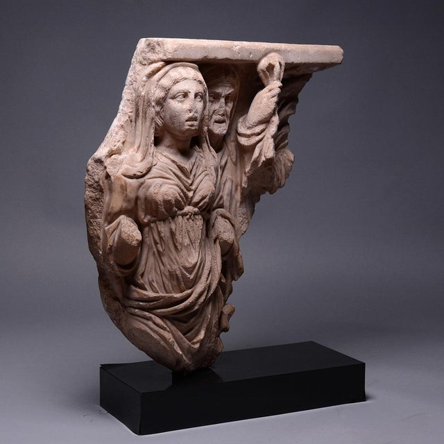 Please update measurements. This attractive relief was part of a large marble sarcophagus, designed to commemorate an...