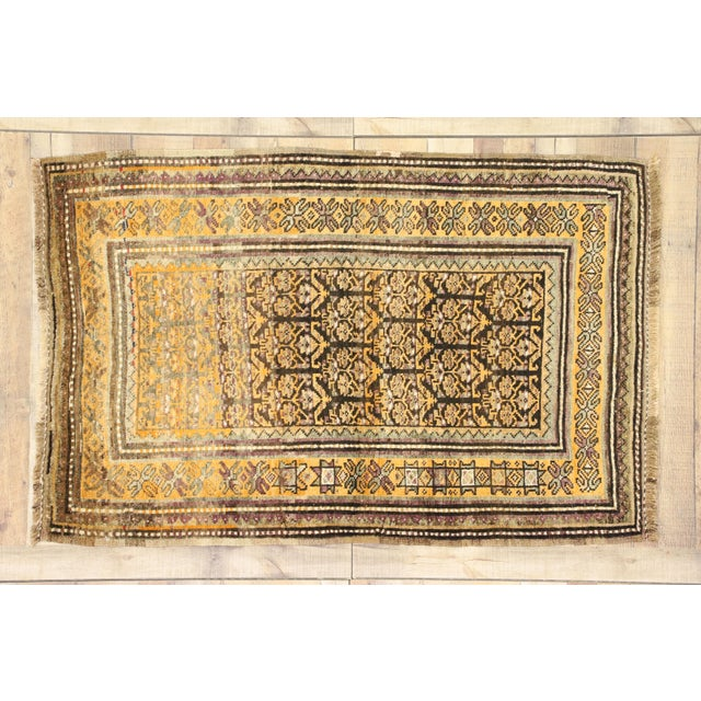 Black Vintage Shiraz Persian Tribal Rug With Mid-Century Modern Style - 3'6 X 5'4 For Sale - Image 8 of 8