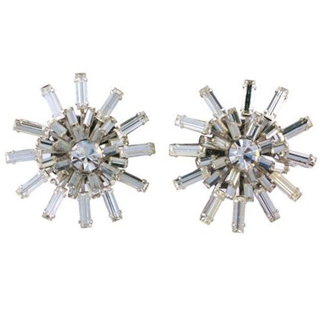 Modern Miriam Haskell Baguette Starburst Earrings For Sale - Image 3 of 3