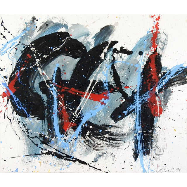 Abstract Expressionist Painting on Paper For Sale - Image 4 of 4