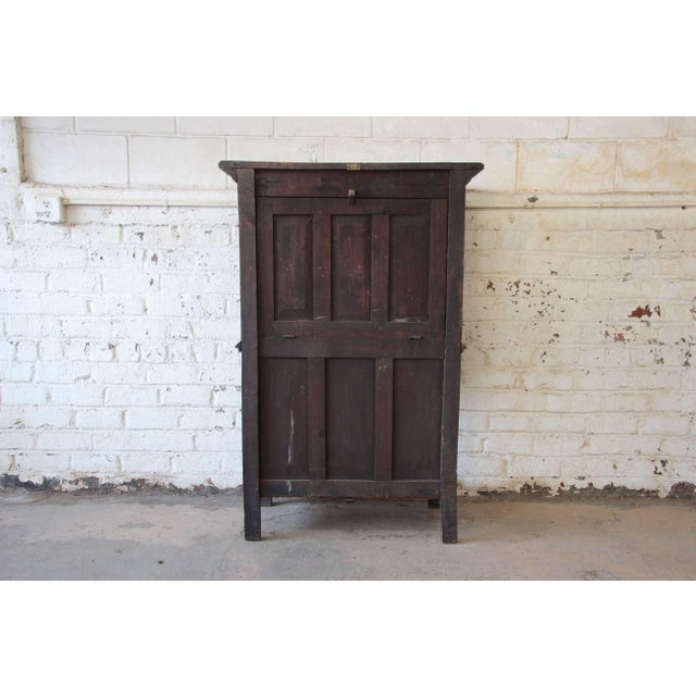 Brown Antique Belgian Dark Oak Gothic Bar Cabinet, Circa 1850s For Sale - Image 8 of 11