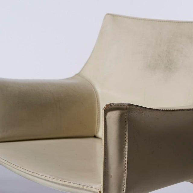 Mario Bellini for Cassina White Leather Cab Dining Arm Chairs - a Pairing For Sale In Houston - Image 6 of 8