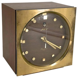 1960s Tiger Tenaka Japanese Table Clock in Walnut Glass and Brass For Sale