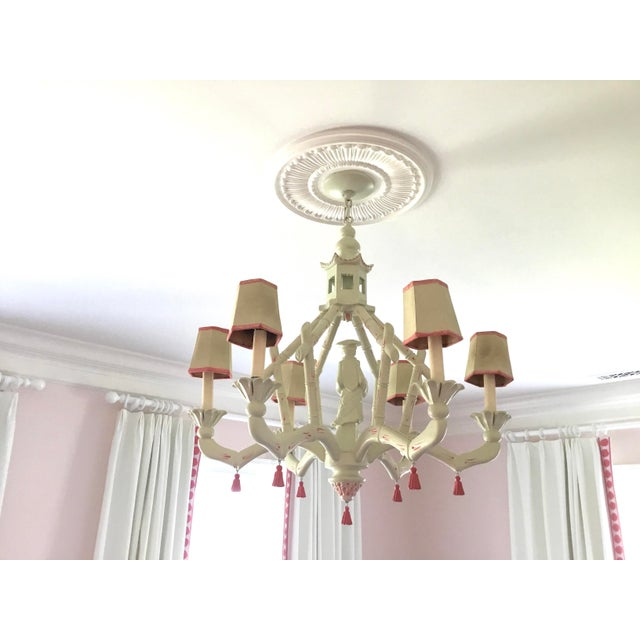 Wood Chic Chinoiserie 6-Arm Chandelier For Sale - Image 7 of 11