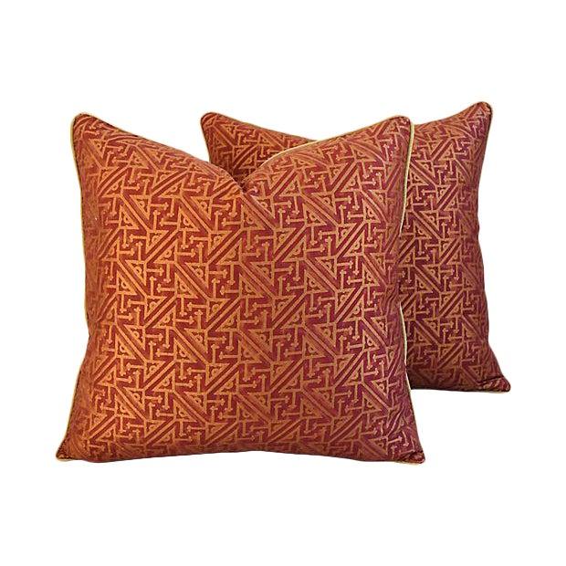 Custom Italian Mariano Fortuny Simboli Feather/Down Pillows - Pair - Image 1 of 10