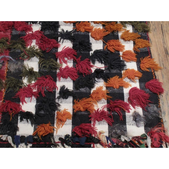 Kurdish Jajim with poms of wool and angora For Sale In New York - Image 6 of 7