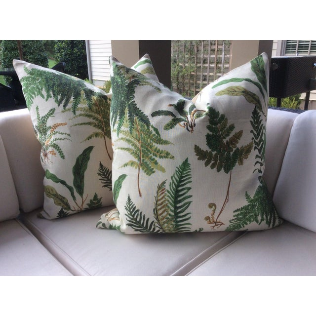 """Hollywood Regency Hollywood Regency Schumacher """"Les Fougeres"""" in Document Pillows - a Pair For Sale - Image 3 of 4"""