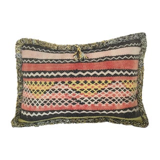 Moroccan Berber Vintage Kilim Wool Pillow For Sale