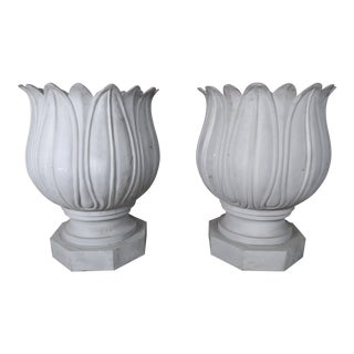 Large Metal Flower Planters - a Pair