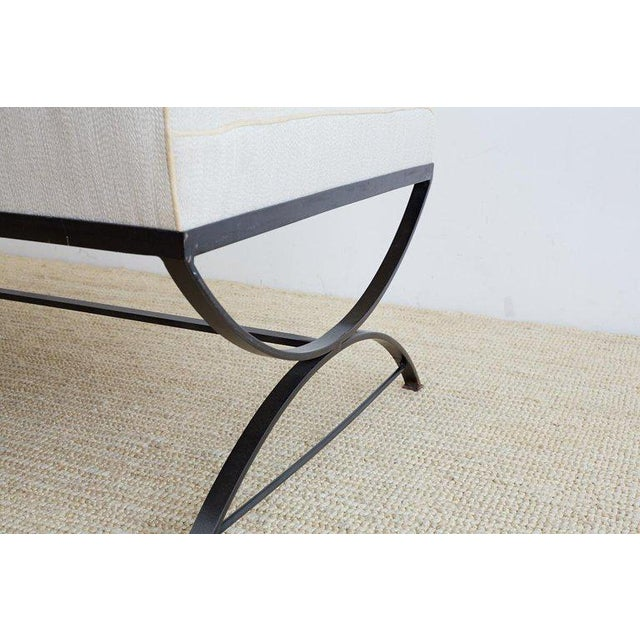 Wrought Iron Curule Style Dining Banquette Bench For Sale - Image 10 of 13