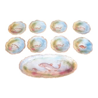 Decorative Fish Platter & Plate Set - 9 Pc.