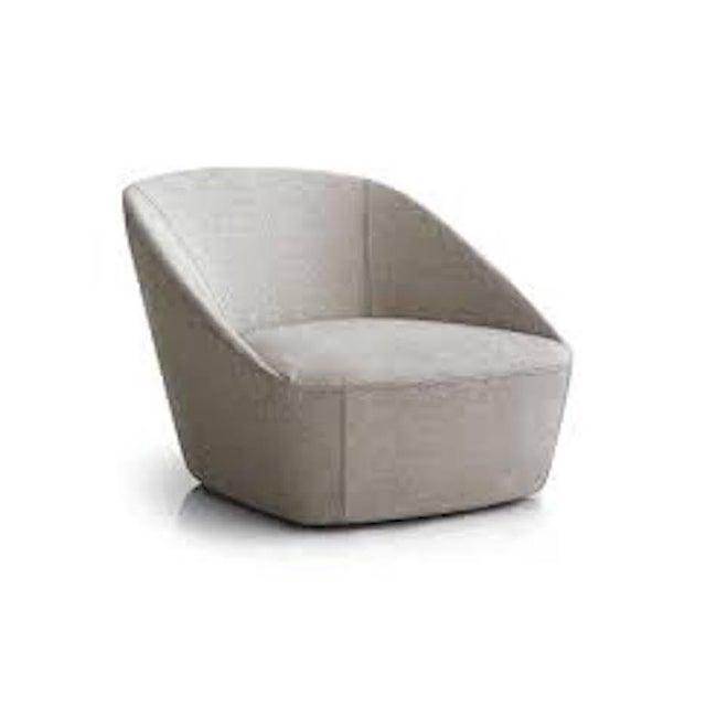 Sphaus Grey Bucket Armchair in Fabric Minimalist Design For Sale - Image 4 of 5