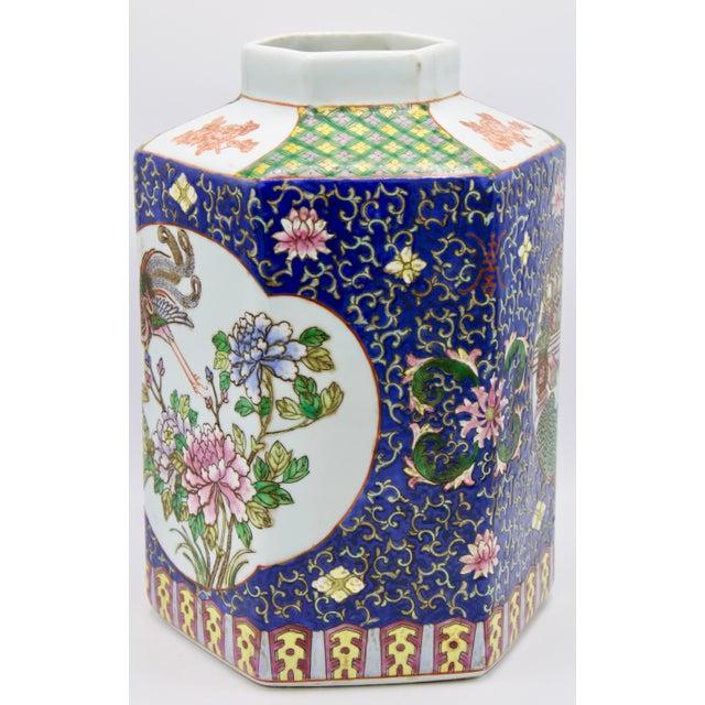 Chinese Large Antique Chinese Enamel Ceramic Vase For Sale - Image 3 of 13