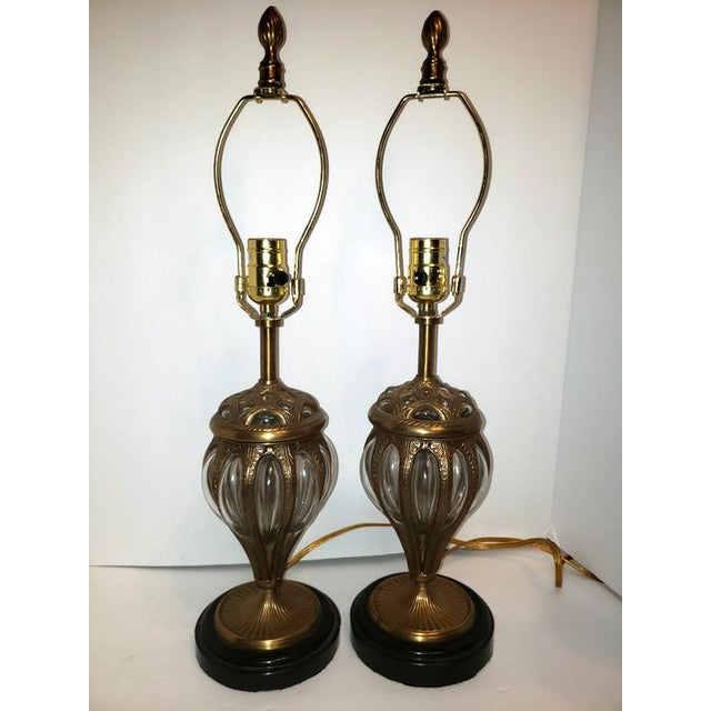 Early 21st Century Murano & Brass Bubble Cage Art Glass Italian Table Lamps - a Pair For Sale - Image 5 of 13