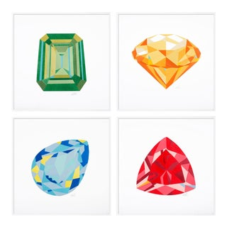 Jewels Set of 4 by Rankin Willard in White Framed Paper, XS Art Print For Sale