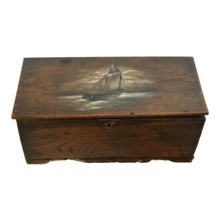 19th Century English Dovetail Box With Ship Painting and Secret Draw For Sale