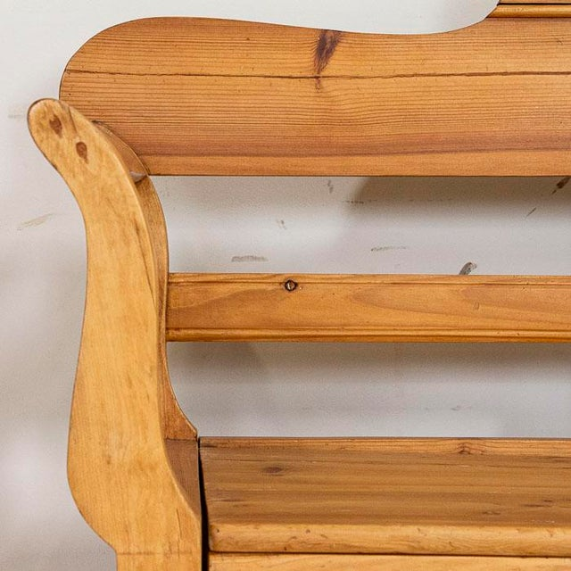 Farmhouse Mid 19th Century Antique Pine Swedish Bench With Storage For Sale - Image 3 of 7