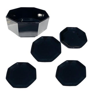 Mid Century Black Faceted Geometric Glass Octagonal Table Plate and Bowl Set France Set of 5 For Sale
