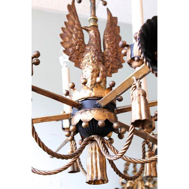 Tôle Painted and Gilt Eagle and Swords Chandelier - Image 5 of 9